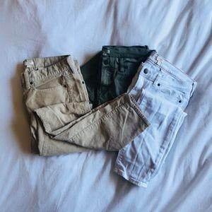 J. Crew pant bundle. All skinny: cords,white,green
